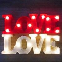 ולנטיין של יום מתנה 3D Marquee אהבת מכתב LED אורות רומנטי קיר מנורות לילה אור בית מסיבת חתונה אהבת קישוט מתנות