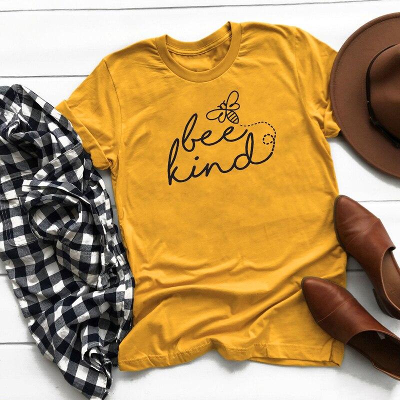 Verano Crewneck Bee Kind imprimir camisetas Unisex mujeres gráfico inspirador Tee Top verano Harajuku ser una bonita Camiseta de algodón humano