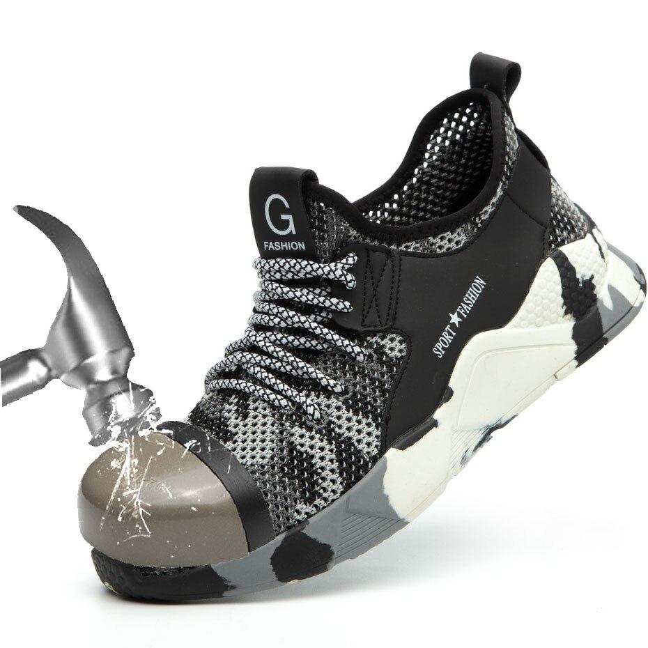 Botas de seguridad para hombre, zapatos deportivos informales transpirables de verano para hombre, sandalias ligeras de verano antigolpes con perforación para trabajo, de malla única
