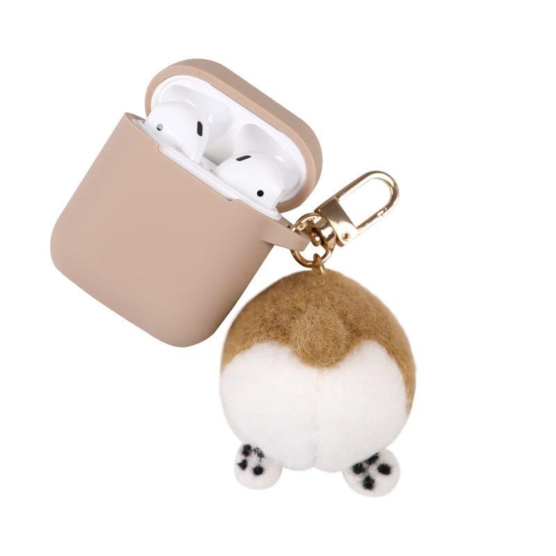 Linda caricatura Melody lana fieltro Corgi culo llavero de silicona auriculares estuche para Apple accesorios para airpods caja de cubierta