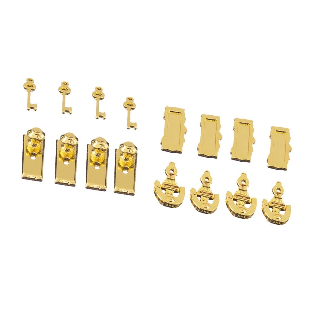 Juego de llaves para casa de muñecas en miniatura, escala 112, perilla de Metal clásica, llavero con juego de llaves y golpeador, caja de letras con ranura para correo para casa de muñecas 8 unidades