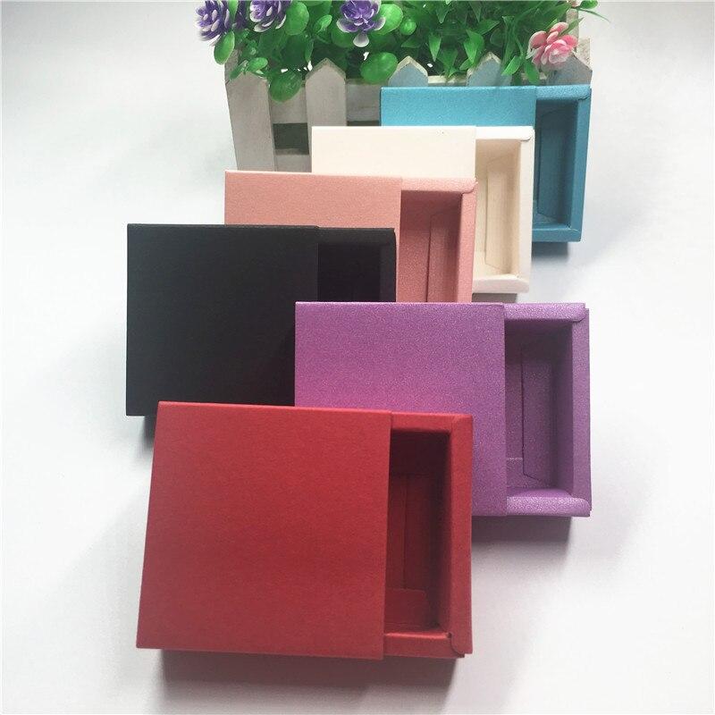 100 pçs/lote 6.2x6.2x2.3cm Colorido Gaveta Da Caixa de Presente De Papelão De Papel Para A Decoração da Exposição Da Loja de Doces Macaron Bolo de Caixa de Embalagem de Alimentos