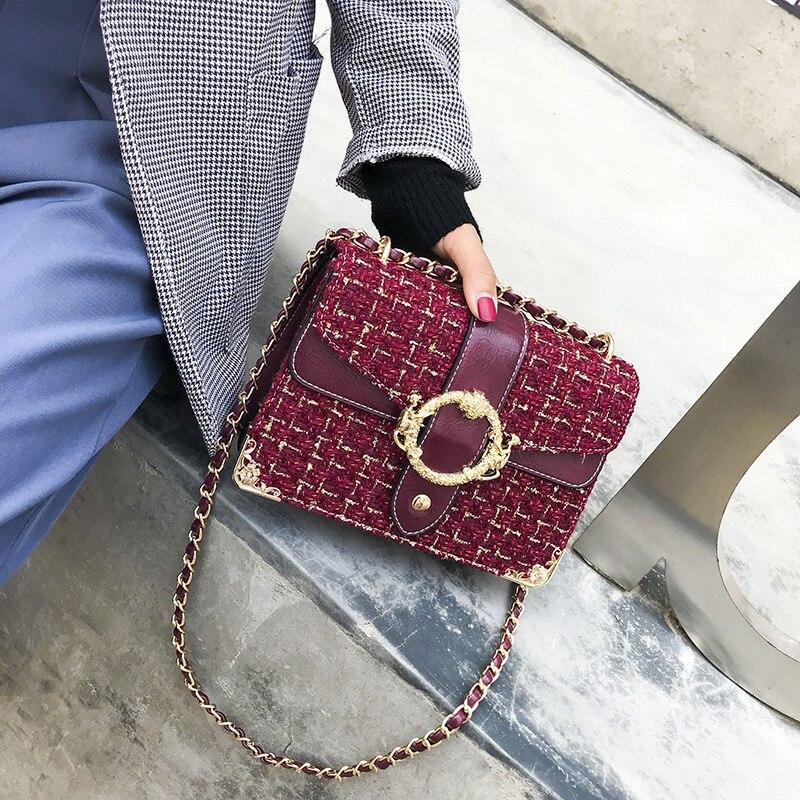 Bolso de lujo FEMALEE Tweed con cierre, bolso de hombro para mujer, bolso cruzado de cadena de lana de diseñador para mujer, bolsos de mano 2019, bolso principal