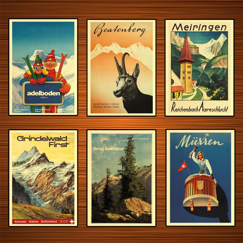 Carteles de Turismo de Suiza y Berna, pegatinas de pared clásicas para turismo, póster de lienzo, póster Vintage de pintura para decoración de bares y hogares, regalo