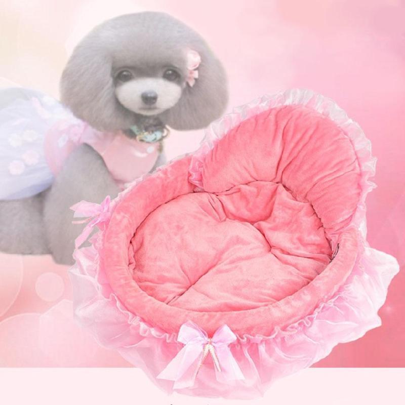 Cama de perro Circular rosa de encaje princesa cachorro casa Doggy Teddy cama Mat perrera nido estera de sofá gato perro suministro de camas de Mascota