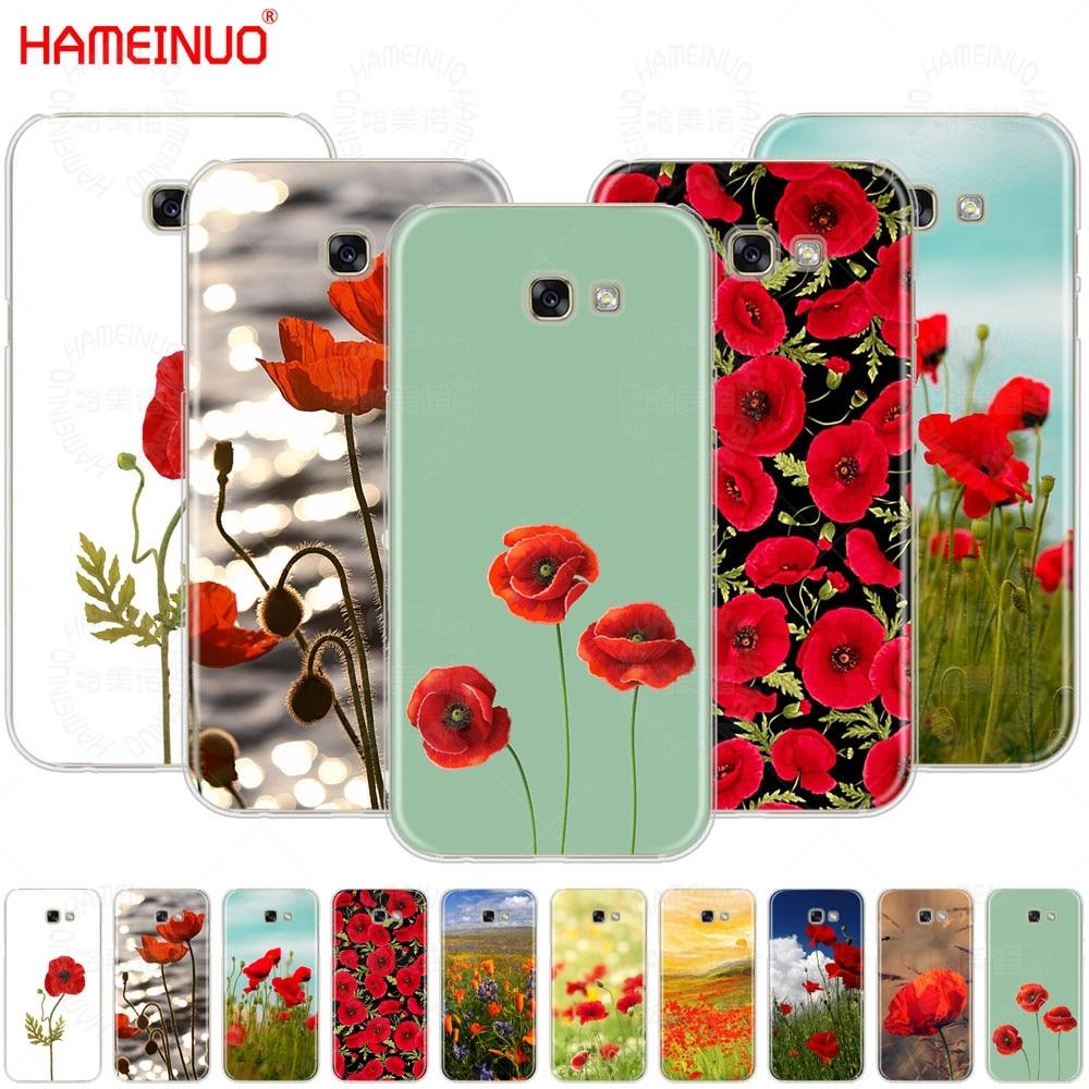 Cubierta del teléfono móvil del Estilo negro de las amapolas rojas de HAMEINUO para Samsung Galaxy A3 A310 A5 A510 A7 A8 A9 2016, 2017, 2018,