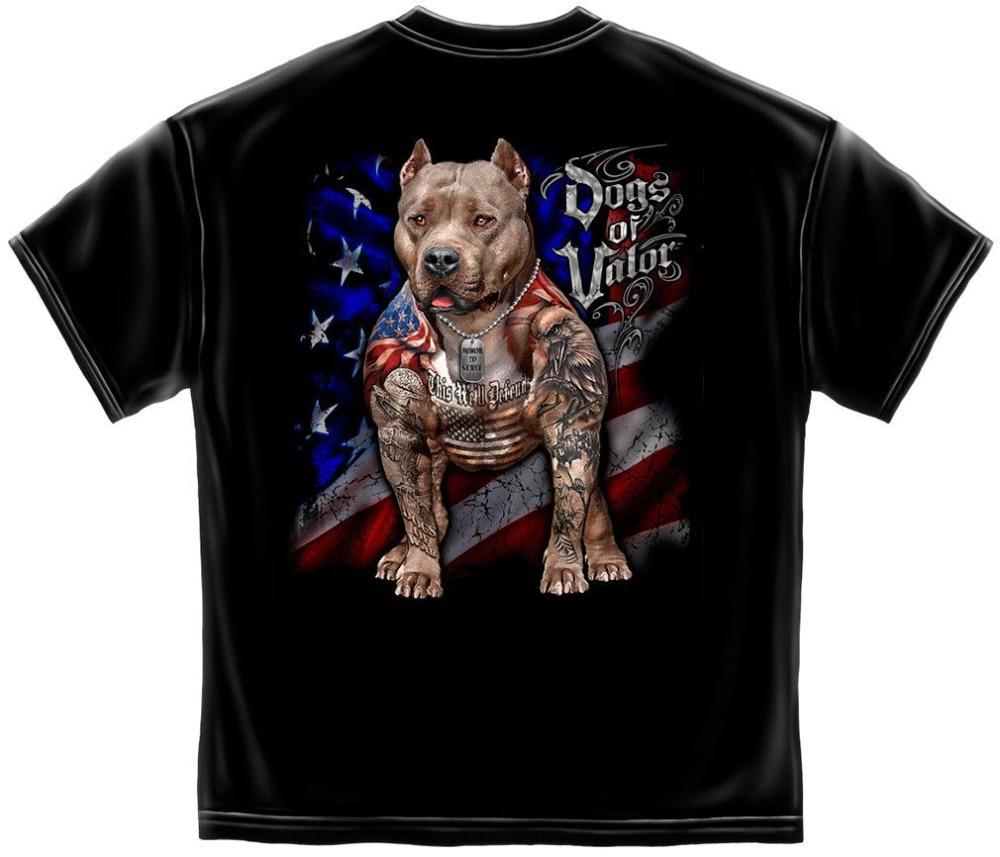 Camiseta de servicio de perros militares del Valor bandera americana defender Pit Bull 2019 nueva llegada verano moda 100% algodón diseño T camisa