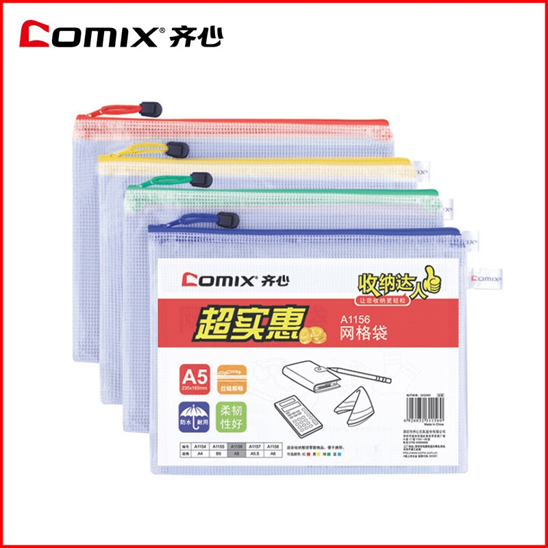 La red A1155 PVC red Comix cremallera bolsa de papelería suministros de oficina B5 5 unids/set envío gratis