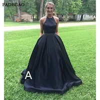 elegant evening dresses with pocket long halter a line party wear sleeveless beading open back formal evening dress plus size