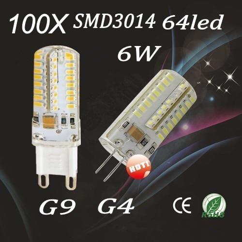 100pcs G4 G9 3014 SMD 64LED Lamps 6W Energy Saving Corn Light Bulbs Light 220V /110V  Free shipping