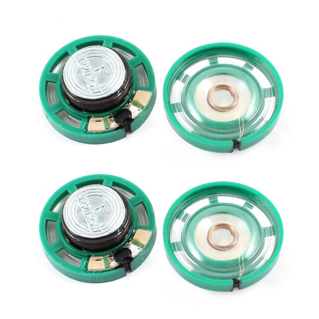 Altavoz magnético 4 de plástico de 0,25 W, 32 Ohm, con diámetro de 27mm, verde y plateado