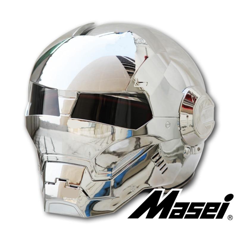 MASEI-casque de moto en ABS   Chromé, placage dargent 610, casque fer Man, casque de moto, casque facial mi-ouvert, casque de moto