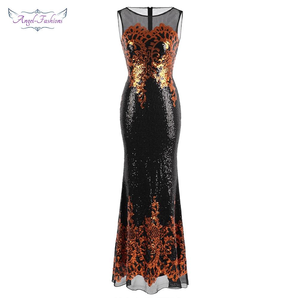 Angel-fashions فساتين سهرة نسائية شفافة طويلة ذهبية نمط ترتر فستان حفلة خمر 444