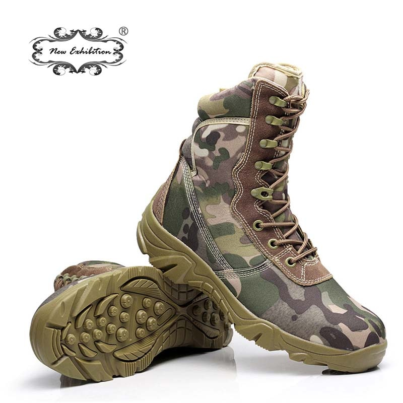 Nueva exposición, botas militares de camuflaje para hombres, botas de combate tácticas con patrón de Pitón, zapatos de trabajo para hombres al aire libre, botas de trabajo para hombre L45