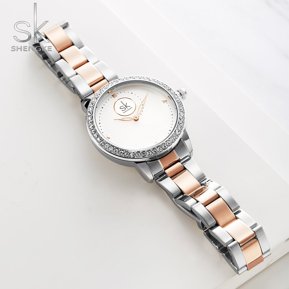 Shengke Women's Watches Luxury Brand Fashion Casual Ladies Quartz Diamond Geneva Lady Bracelet Wrist Watches For Women Clock Hou enlarge