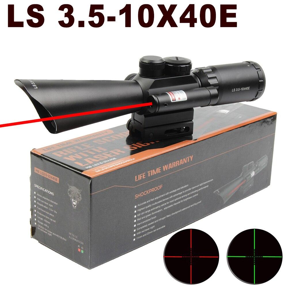 Mira telescópica de Rifle de alta calidad, óptica de caza LS 3,5-10x40mm, mira de Rifle de fibra óptica de punto rojo, visor punto rojo