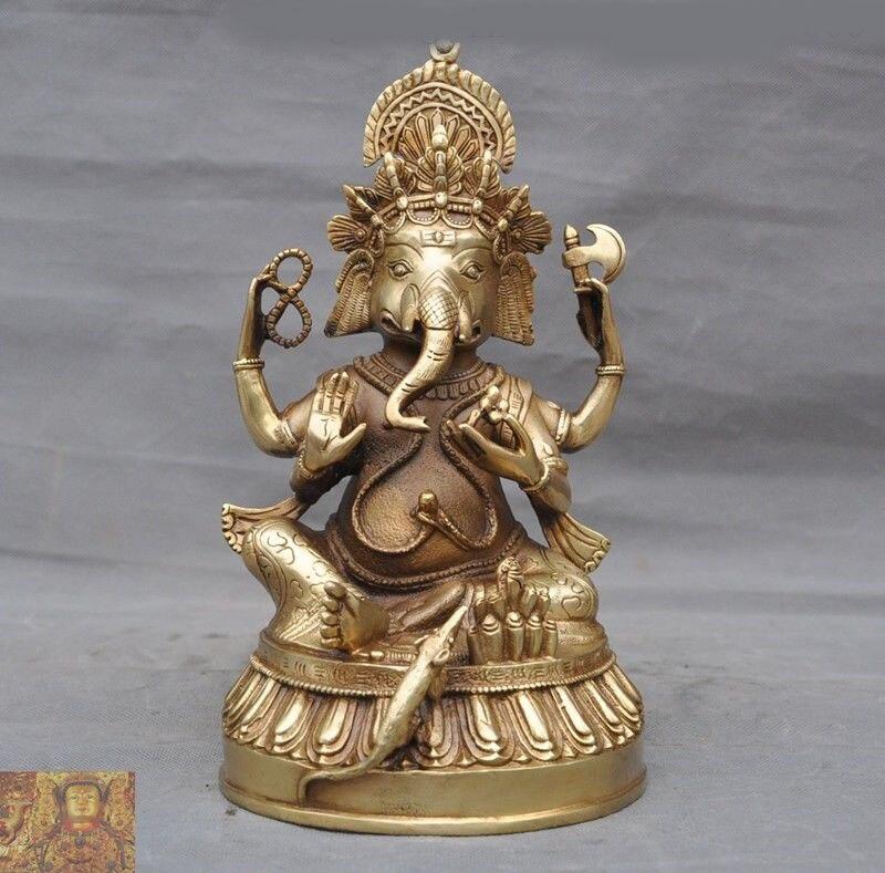 Decoración de boda templo budista Tíbet latón cobre 4 brazos elefante Jambhala Mammon estatua de Buda