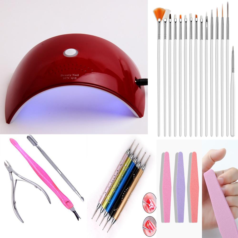 Set de manicura 36 W/12 W lámpara UV LED secador herramientas de manicura brochas para gel esmalte de uñas para herramientas de arte de uñas