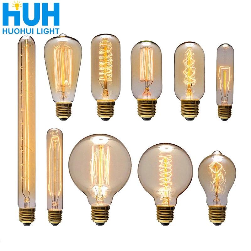 Винтажная лампа Эдисона E27 40 Вт, ламсветильник накаливания Ретро 90-260 В для спальни, лампа накаливания со стеклянным колпаком для украшения д...