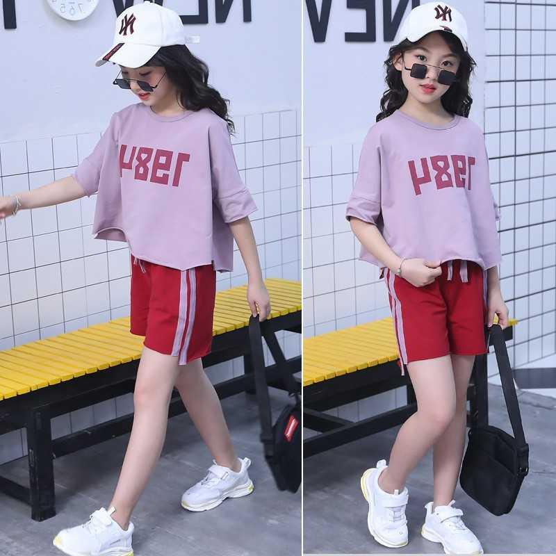 3-11 yaşında kız t-shirt + pantolon 2019 yaz takım elbise çocuk kısa kollu iki parçalı kızlar giyim setleri genç çocuklar dış giyim