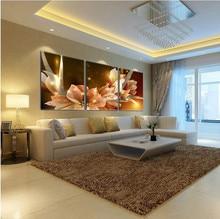 Schilderijen Limited Cuadros Quadros Olieverf Goud Transparante Bloem 3 Stuk Wall Art Pictures Canvas (geen Frame)