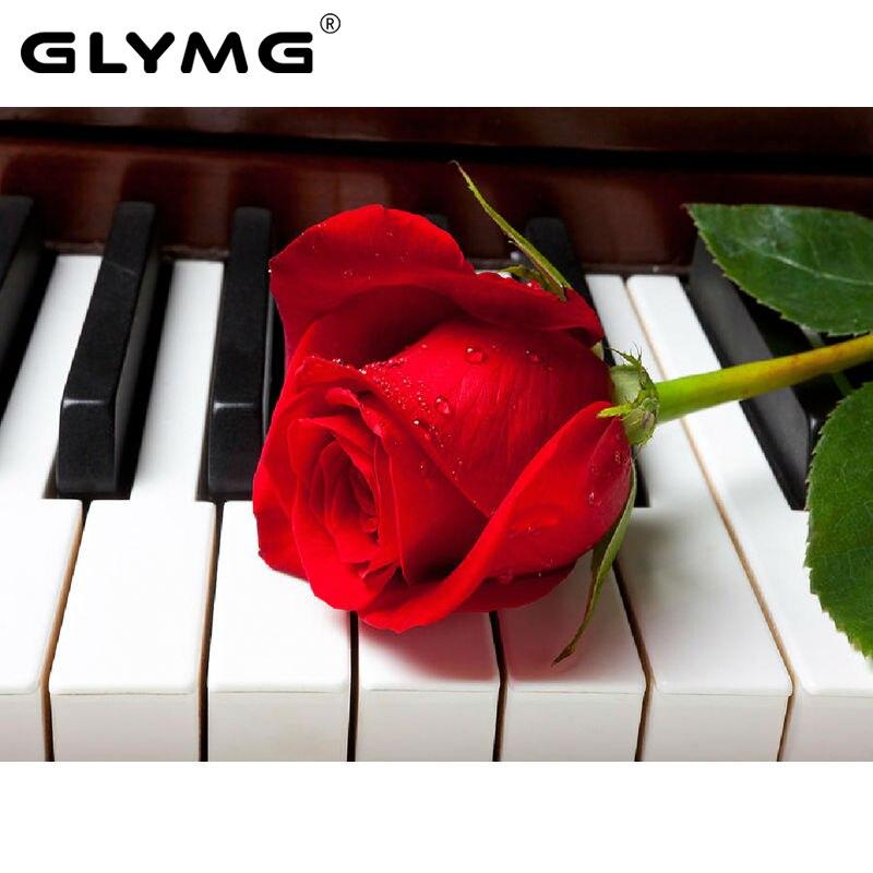 GLymg Needlework Piano Flor Decoração Pintura Broca de Diamante Diy Diamante Mosaico Bordado Conjunto Completo Broca Quadrado Romântico Rosa Vermelha