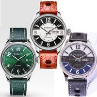 42mm Parnis Black Green Dial Sapphire Glass Date Window Luxury Brand 21 jewels Miyota Automatic Movement Men's Watch
