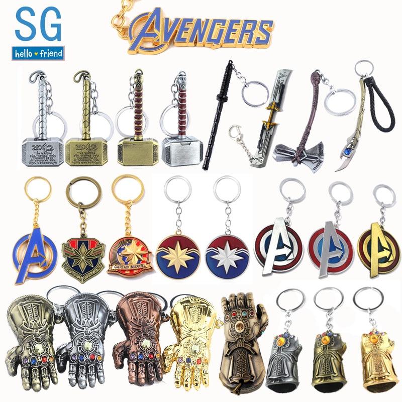 SG 10pc Marve l Avengers Thanos Infinite Power Gauntlet Keychains Loki Thor Axe Iron Man Doctor Strange Lady Car Keyring Jewelry