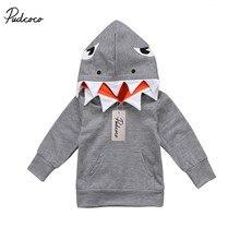 Padrão Com Capuz da Camisola do bebê da Criança Crianças Meninos Tubarão Tops Hoodie Jacket Coat Casacos Casual 1-6 t