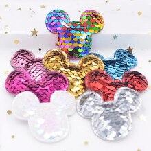 Tissu à paillettes de 16 pièces Mickey   Patchs rembourrés souris, Appliques pour bricolage, vêtements artisanat, chapeaux épingle à cheveux, accessoires décoratifs F29