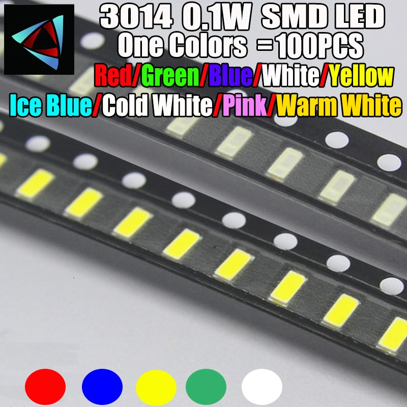 100 Uds nuevo 3014 0,1 W 3,0*1,4 MM 2,0-3,2 V rojo/verde/azul/blanco/amarillo hielo azul Rosa blanco cálido SMD kit LED