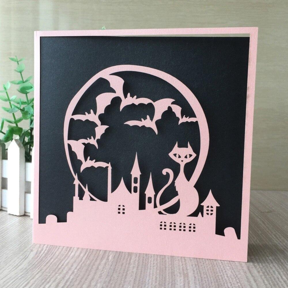 25 unids/lote tarjeta de invitación de dibujos animados de palacio de gato dorado para fiesta de cumpleaños bendecir felicitación niños Día de la celebración del jardín de infancia