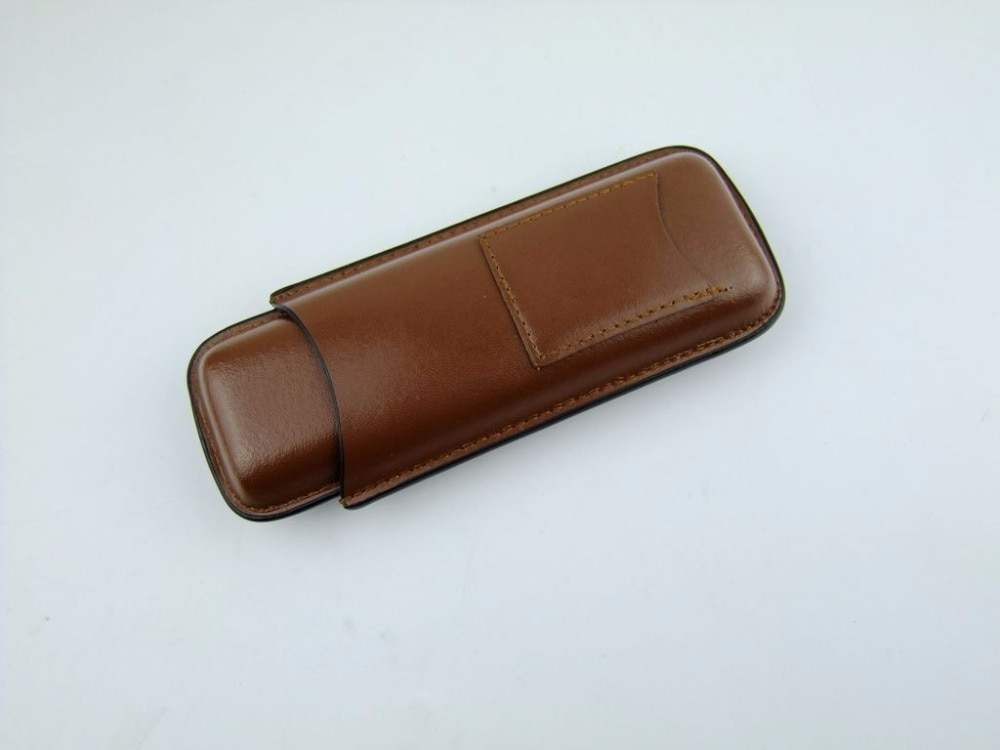 brown Travel Leather Cigar Case Holder 2 Tube cigar Humidor pouch 2 cigars tube with Stainless Steel cigar Cutter scissor knife enlarge