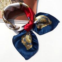 50*50 multifonction soie foulard femmes mode imprimé foulards cheveux cravate fleur léopard rayé ruban chapeaux rétro foulard