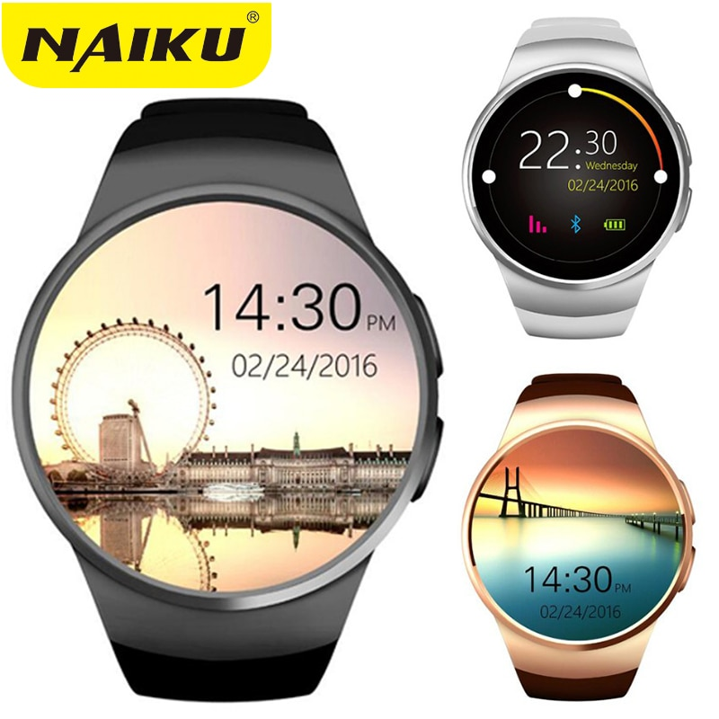 NAIKU Original KW18 rond IPS montre intelligente de fréquence cardiaque MTK2502 BT4.0 Smartwatch pour ios et Android Samsung montre intelligente
