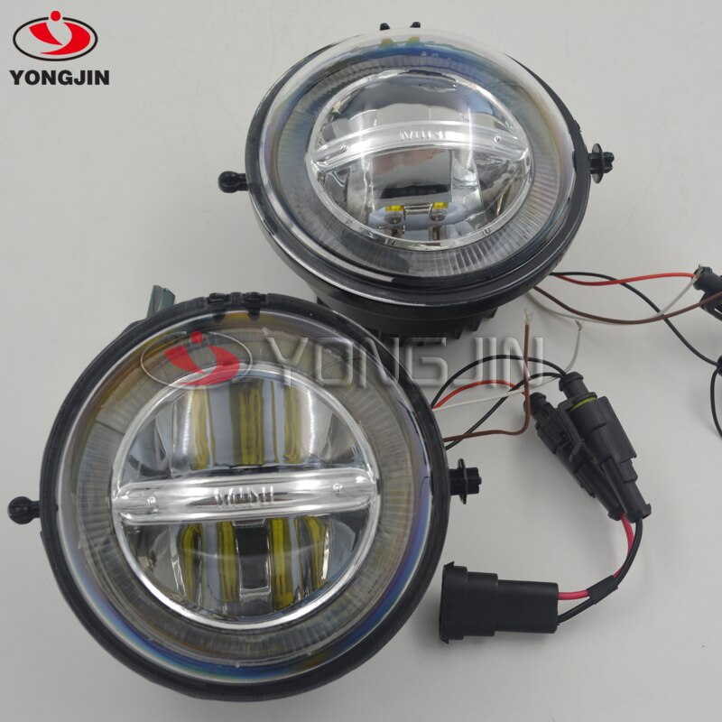 1 conjunto para mini cooper drl led luzes diurnas reequipamento carro nevoeiro lâmpada estilo r55 r56 r57 r58 r59 r60 r61 auréola anjo olhos