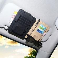 Auto Zonneklep Pocket Organizer Bag Card Pen Glazen Opslag Houder Auto Interieur Accessoires Opbergen Opruimen Pu Leer