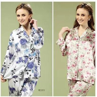 La nueva casa abrigo arte, 100% seda mulberry Mujer Pantalones de manga larga de dos piezas traje de pijama de seda, 029