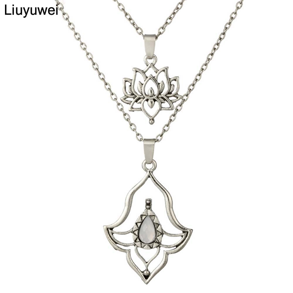 Liuyuwei, collares de cadena de loto de doble capa a la moda, joyería para mujeres, gargantilla de piedra blanca Bohemia, cadena de joyería YWYG3637