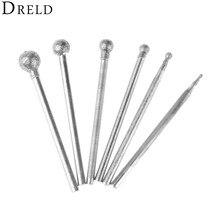 DRELD 6 pièces 2.35mm queue diamant polissage sphérique tête de meulage monté Points de meulage pour Dremel outils rotatifs F aiguille