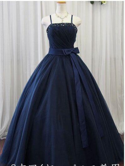 spaghetti straps navy blue prom dress 2017 vestidos de festa  custom make size 0 or plus size free s