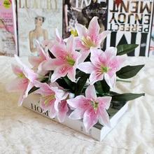 Bouquet de fleurs de lys artificielles multicolores   1 pièces, 10 têtes, fausses fleurs, fleurs de mariée, décoration couronne de mariage, P20