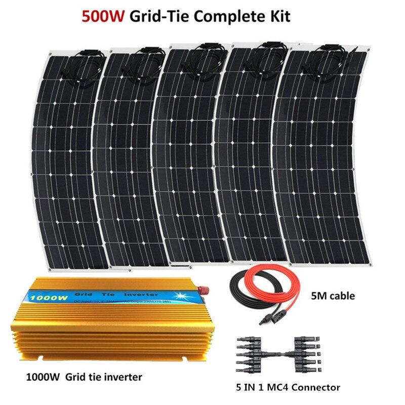 500W de lazo de la rejilla de sistema 5 piezas 100W Panel Solar Flexible módulo con 1000W inversor solar de 500W kit de panel de sistema doméstico