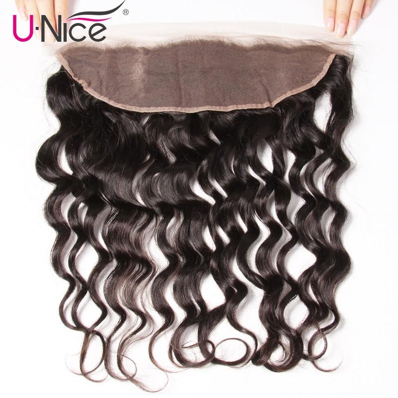 UNice Hair-شعر مستعار هندي طبيعي ، شعر بشري ، مموج ، 13 × 4 ، مع إغلاق أمامي من الدانتيل ، شعر ريمي ، جزء مجاني ، 10-20 بوصة