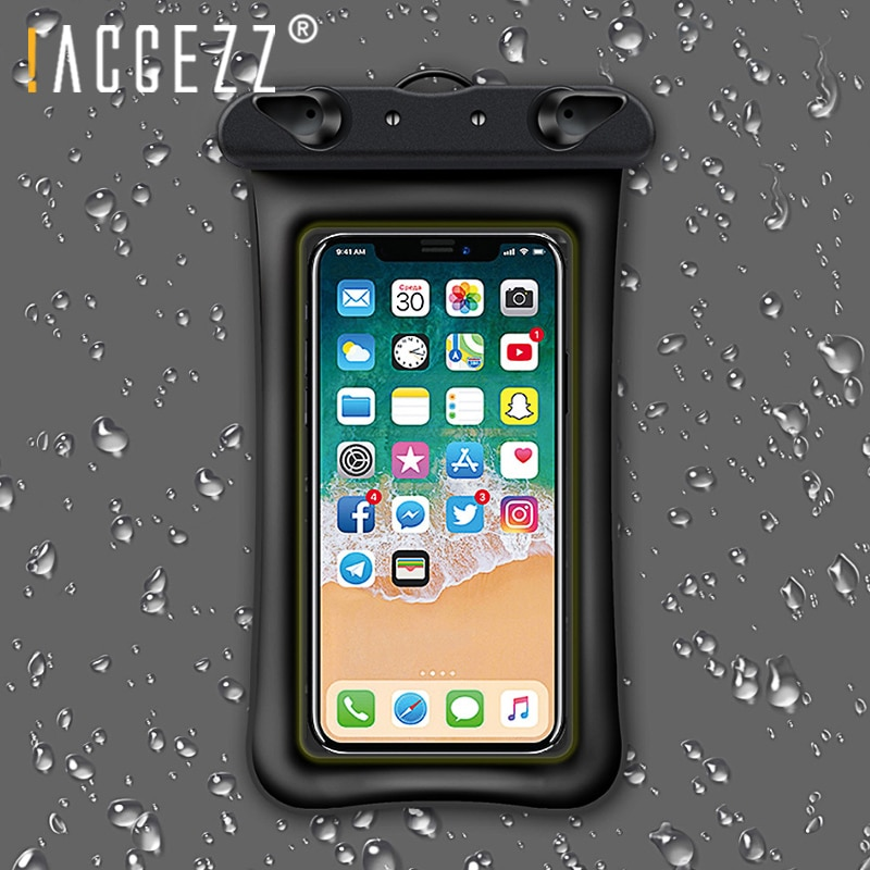 ¡! Funda de teléfono resistente al agua ACCEZZ para iPhone XR XS MAX X 8 Plus bolsa de natación bolsa de teléfono para Xiaomi 5 6 Huawei funda de teléfono móvil