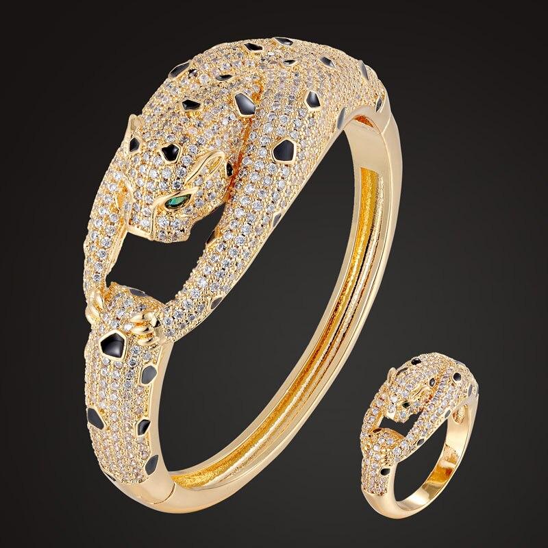 Brazalete con diseño de animal Zlxgirl, pulsera para mujer, joyería de lujo de marca de leopardo con esmalte negro, accesorios de brazalete de amor de cobre