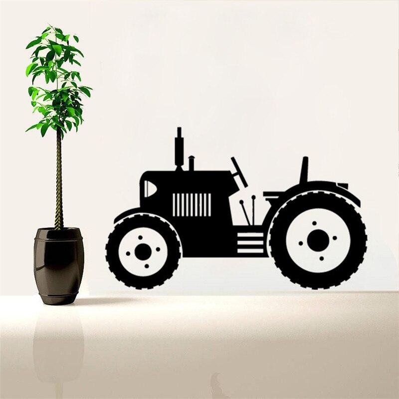 Vinilo arte removible póster Mural Tractor remolque neumáticos grandes Farmer pared pegatina trabajo niños Decoración Para calcomanías de dormitorio LY1519