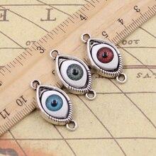 8 шт амулеты 3 цвета дьявольский глаз 30x15 мм античные серебряные цветные Подвески Изготовление DIY ручной работы тибетский ювелирный браслет