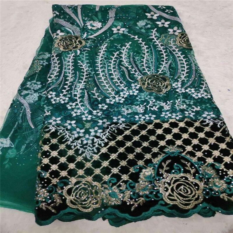 Tela de flores azul real vestidos nigerianos, terciopelo tela de encaje nigeriano 5Y, Piedras verdes terciopelo tul tela de encaje Borgoña