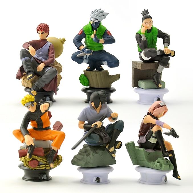 6 pçs/lote 9.5 centímetros Figuras de Ação Brinquedos Naruto Chess Novo Modelo Kakashi Sasuke Madara Naruto Uzumaki Shippuden Hinata Brinquedo